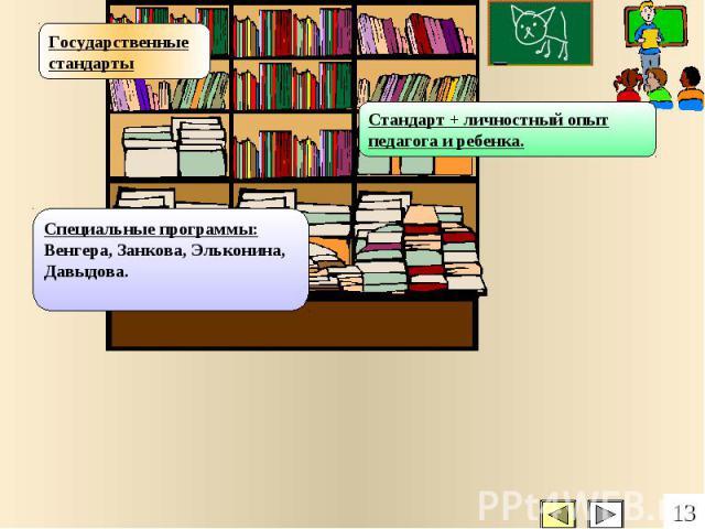 Государственные стандарты Специальные программы: Венгера, Занкова, Эльконина, Давыдова. Стандарт + личностный опыт педагога и ребенка. 13