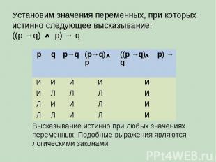 Установим значения переменных, при которых истинно следующее высказывание: ((p →
