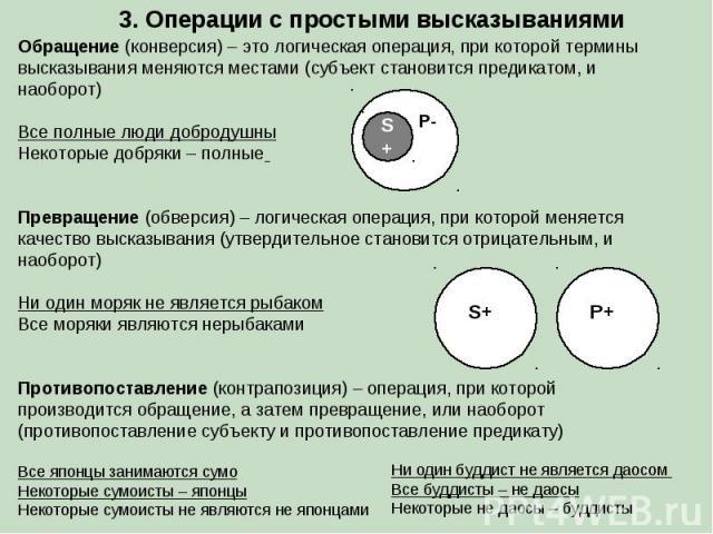 3. Операции с простыми высказываниями Обращение (конверсия) – это логическая операция, при которой термины высказывания меняются местами (субъект становится предикатом, и наоборот) Все полные люди добродушны Некоторые добряки – полные Превращение (о…