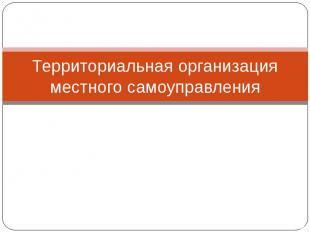 Территориальная организация местного самоуправления