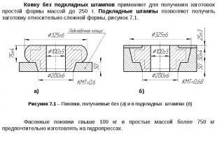 Ковку без подкладных штампов применяют для получения заготовок простой формы мас