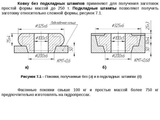 Ковку без подкладных штампов применяют для получения заготовок простой формы массой до 250 т. Подкладные штампы позволяют получить заготовку относительно сложной формы, рисунок 7.1. а) б) Рисунок 7.1 – Поковки, получаемые без (а) и в подкладных штам…