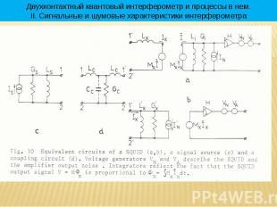* Двухконтактный квантовый интерферометр и процессы в нем. II. Сигнальные и шумо