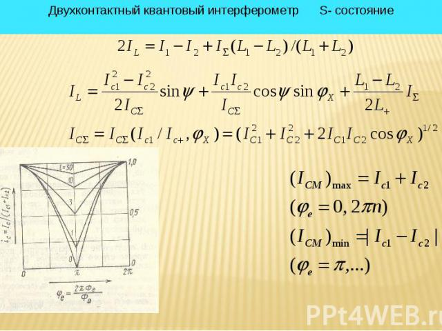 * Двухконтактный квантовый интерферометр S- состояние