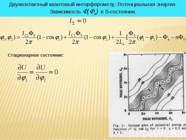 * Двухконтактный квантовый интерферометр. Потенциальная энергия. Зависимость (e) в S-состоянии. Стационарное состояние: