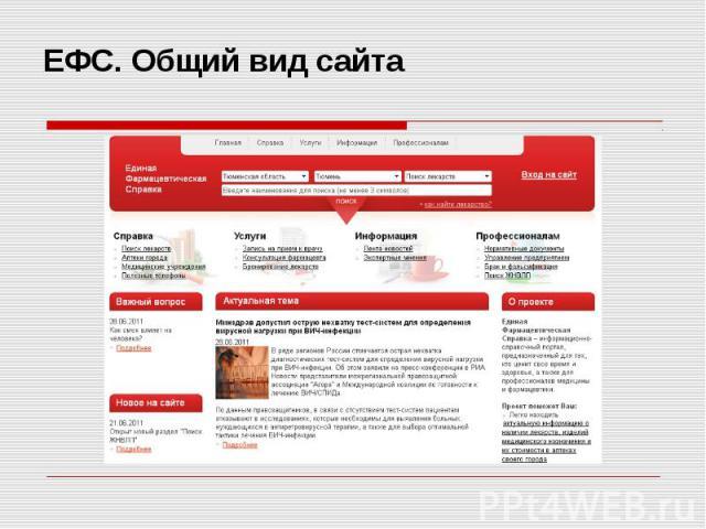 ЕФС. Общий вид сайта