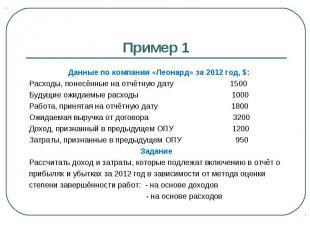 Пример 1 Данные по компании «Леонард» за 2012 год, $: Расходы, понесённые на отч