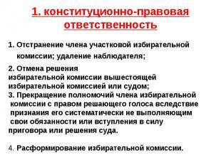 1. конституционно-правовая ответственность 1. Отстранение члена участковой избир