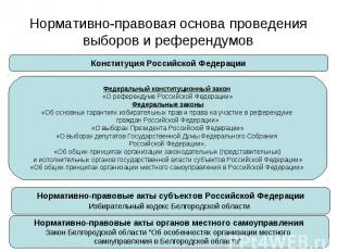 Нормативно-правовая основа проведения выборов и референдумов Конституция Российс