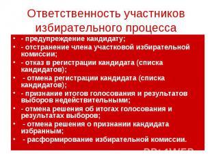 Ответственность участников избирательного процесса - предупреждение кандидату; -
