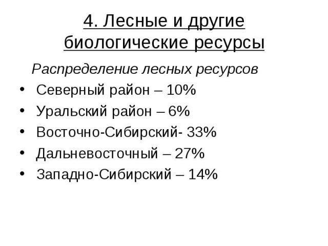 4. Лесные и другие биологические ресурсы Распределение лесных ресурсов Северный район – 10% Уральский район – 6% Восточно-Сибирский- 33% Дальневосточный – 27% Западно-Сибирский – 14%