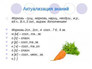 Актуализация знаний Морковь - сущ., морковь, нариц., неодуш., ж.р., ед.ч., В.п.,