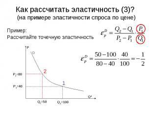 D P Qd 2 1 Q2=50 Q1=100 P1=40 P2=80 Как рассчитать эластичность (3)? (на примере