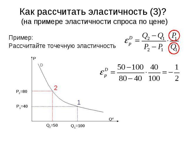 D P Qd 2 1 Q2=50 Q1=100 P1=40 P2=80 Как рассчитать эластичность (3)? (на примере эластичности спроса по цене) Пример: Рассчитайте точечную эластичность