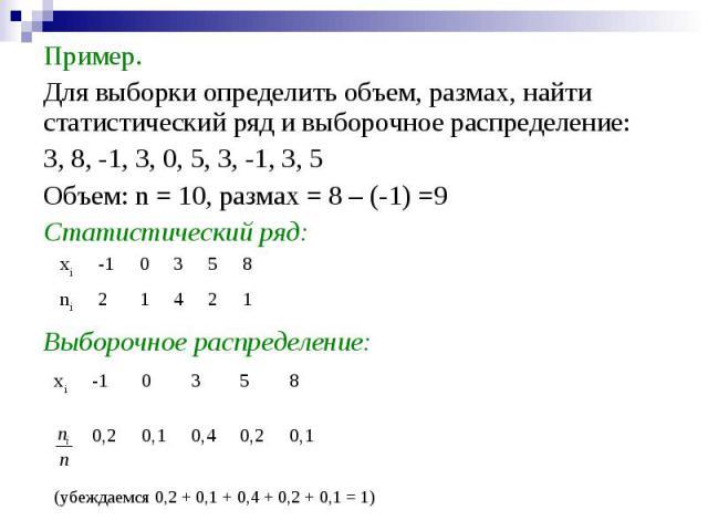 1 2 4 1 2 ni 8 5 3 0 -1 xi 0,1 0,2 0,4 0,1 0,2 8 5 3 0 -1 xi (убеждаемся 0,2 + 0,1 + 0,4 + 0,2 + 0,1 = 1) Пример. Для выборки определить объем, размах, найти статистический ряд и выборочное распределение: 3, 8, -1, 3, 0, 5, 3, -1, 3, 5 Объем: n = 10…