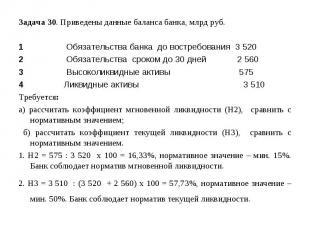 Задача 30. Приведены данные баланса банка, млрд руб. 1 Обязательства банка до во