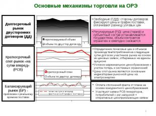 * Долгосрочный рынок двусторонних договоров (ДД) Свободные (СДД): стороны догово