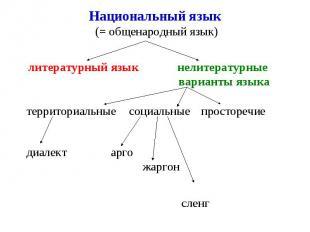 Национальный язык (= общенародный язык) литературный язык нелитературные вариант