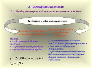 2.1. Отбор факторов, подлежащих включению в модель Требования к отбираемым факто