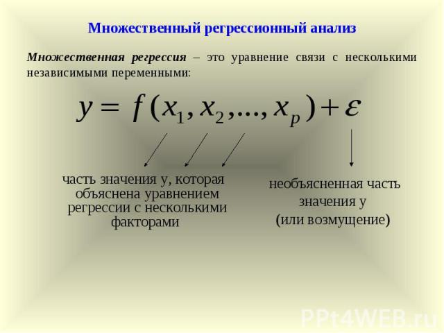 необъясненная часть значения у (или возмущение) Множественная регрессия – это уравнение связи с несколькими независимыми переменными: Множественный регрессионный анализ часть значения у, которая объяснена уравнением регрессии с несколькими факторами
