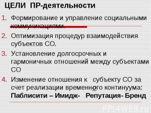 ЦЕЛИ ПР-деятельности Формирование и управление социальными коммуникациями. Оптим