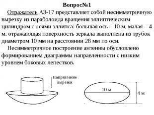 Вопрос№1 Отражатель АЗ-17 представляет собой несимметричную вырезку из параболои