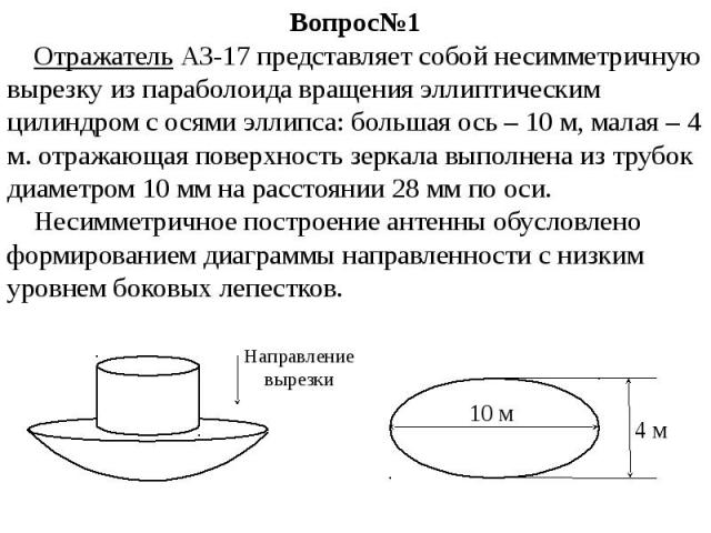 Вопрос№1 Отражатель АЗ-17 представляет собой несимметричную вырезку из параболоида вращения эллиптическим цилиндром с осями эллипса: большая ось – 10 м, малая – 4 м. отражающая поверхность зеркала выполнена из трубок диаметром 10 мм на расстоянии 28…