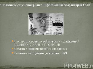 Система постоянных рейтинговых исследований (СИНДИКАТИВНЫЕ ПРОЕКТЫ) Создание инф