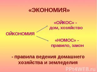 «ЭКОНОМИЯ» ОЙКОНОМИЯ «ОЙКОС» - дом, хозяйство «НОМОС» - правило, закон - правила