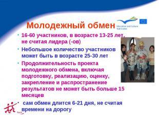 Молодежный обмен 16-60 участников, в возрасте 13-25 лет, не считая лидера (-ов)