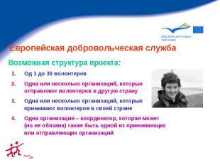 Европейская добровольческая служба Од 1 до 30 волонтеров Одна или несколько орга