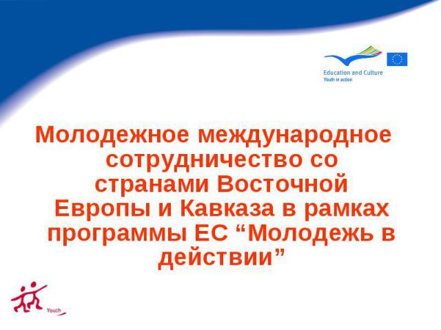 """Молодежное международное сотрудничество со странами Восточной Европы и Кавказа в рамках программы ЕС """"Молодежь в действии"""""""