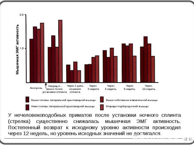12-11 У нечеловекоподобных приматов после установки ночного сплинта (стрелка) существенно снижалась мышечная ЭМГ активность. Постепенный возврат к исходному уровню активности происходил через 12 недель, но уровень исходных значений не достигался. Не…