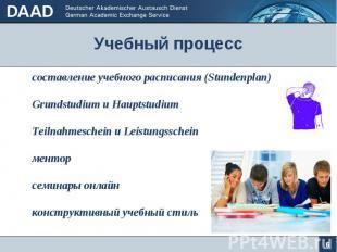 Учебный процесс 6 составление учебного расписания (Stundenplan) Grundstudium u H