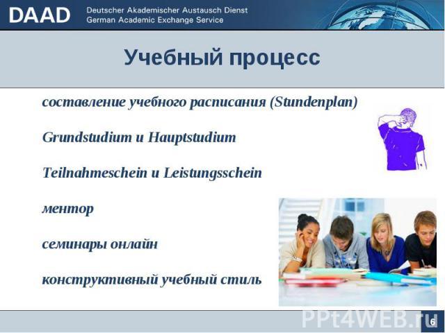 Учебный процесс 6 составление учебного расписания (Stundenplan) Grundstudium u Hauptstudium Teilnahmeschein и Leistungsschein ментор семинары онлайн конструктивный учебный стиль