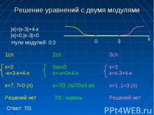 Решение уравнений с двумя модулями |x|=|x-3|+4-x|x|=0,|x-3|=0 Нули модулей: 0;3