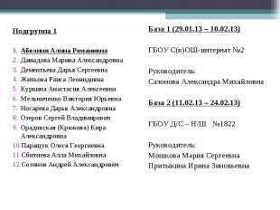 Подгруппа 1 Аболиня Алина Романовна Давыдова Марина Александровна Дементьева Дар