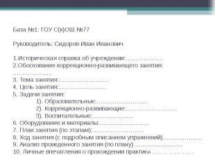 База №1: ГОУ С(к)ОШ №77 Руководитель: Сидоров Иван Иванович 1.Историческая справ