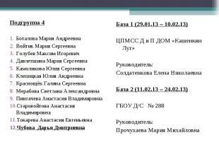 Подгруппа 4 Боталова Мария Андреевна Войтик Мария Сергеевна Голубев Максим Игоре
