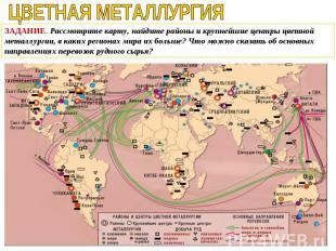 ЗАДАНИЕ. Рассмотрите карту, найдите районы и крупнейшие центры цветной металлург