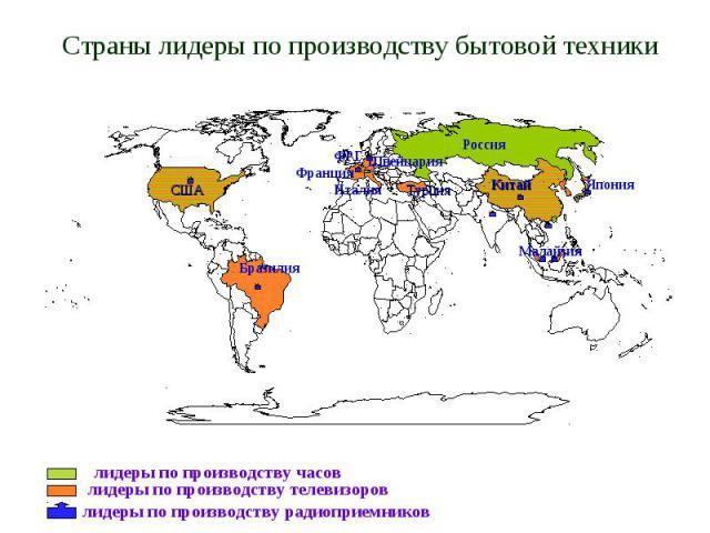 Страны лидеры по производству бытовой техники лидеры по производству часов лидеры по производству телевизоров лидеры по производству радиоприемников США Бразилия Россия Китай Малайзия Турция ФРГ Япония Швейцария Франция Италия