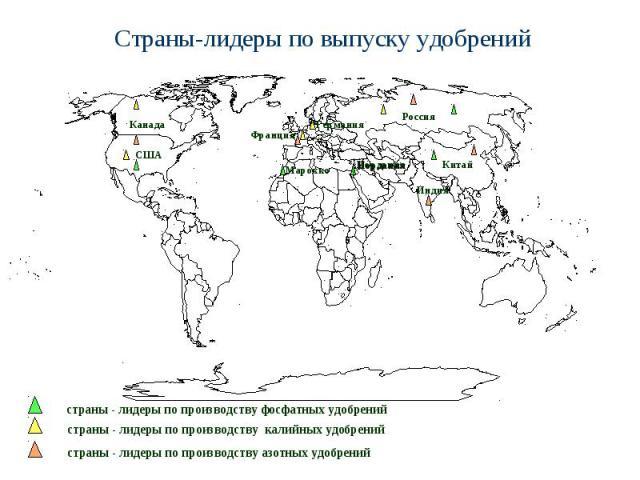 Страны-лидеры по выпуску удобрений страны - лидеры по производству фосфатных удобрений страны - лидеры по производству калийных удобрений страны - лидеры по производству азотных удобрений Иордания Марокко Россия США Китай Франция Канада Германия Индия