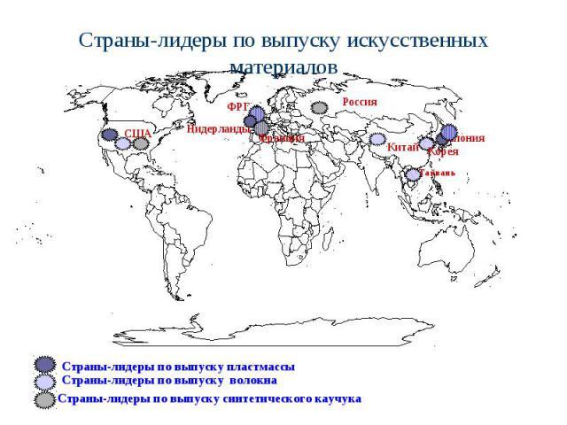 Страны-лидеры по выпуску искусственных материалов Страны-лидеры по выпуску волокна Страны-лидеры по выпуску синтетического каучука Страны-лидеры по выпуску пластмассы Нидерланды Франция ФРГ Япония США Тайвань Китай Корея Россия