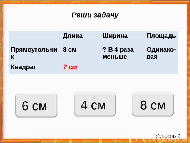 Реши задачу 4 см 6 см 8 см Длина Ширина Площадь Прямоугольник 8 см ? В 4 раза меньше Одинако-вая Квадрат ? см Уровень 2