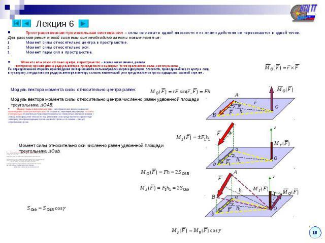 Лекция 6 Пространственная произвольная система сил – силы не лежат в одной плоскости и их линии действия не пересекаются в одной точке. Для рассмотрения такой системы сил необходимо ввести новые понятия: Момент силы относительно центра в пространств…