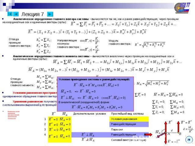 Лекция 7 Условием равновесия пространственной произвольной системы сил является одновременное обращение главного вектора и главного момента системы в ноль: Уравнения равновесия получаются в виде системы шести уравнений из условий равновесия с исполь…