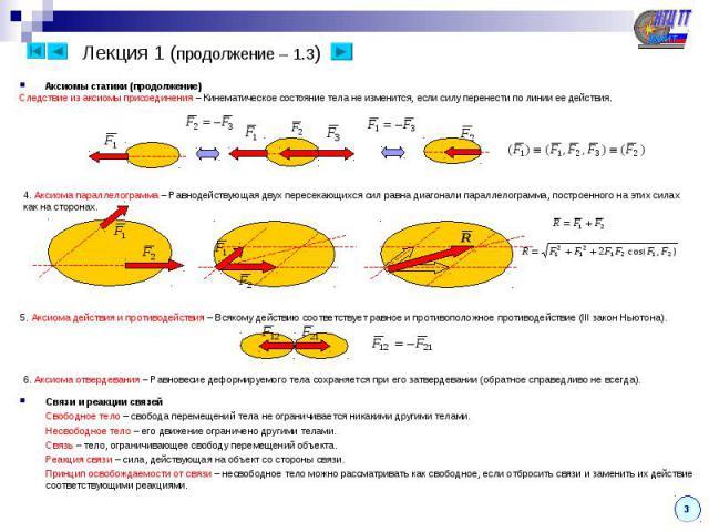 Лекция 1 (продолжение – 1.3) Аксиомы статики (продолжение) Следствие из аксиомы присоединения – Кинематическое состояние тела не изменится, если силу перенести по линии ее действия. 4. Аксиома параллелограмма – Равнодействующая двух пересекающихся с…