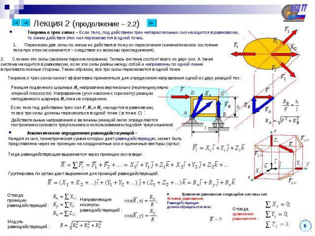 Теорема о трех силах – Если тело, под действием трех непараллельных сил находится в равновесии, то линии действия этих сил пересекаются в одной точке. Перенесем две силы по линии их действия в точку их пересечения (кинематическое состояние тела при …