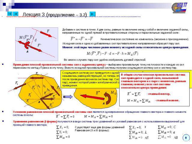 Приведение силы к заданному центру (метод Пуансо) – силу можно перенести параллельно самой себе в любую точку плоскости, если добавить соответствующую пару сил, момент которой равен моменту этой силы относительно рассматриваемой точки. A Добавим к с…