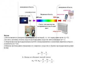 Фотон Фотон является электрически нейтральной частицей, т. е. его заряд равен ну